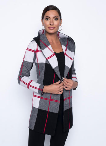 RED PLAID CARDI