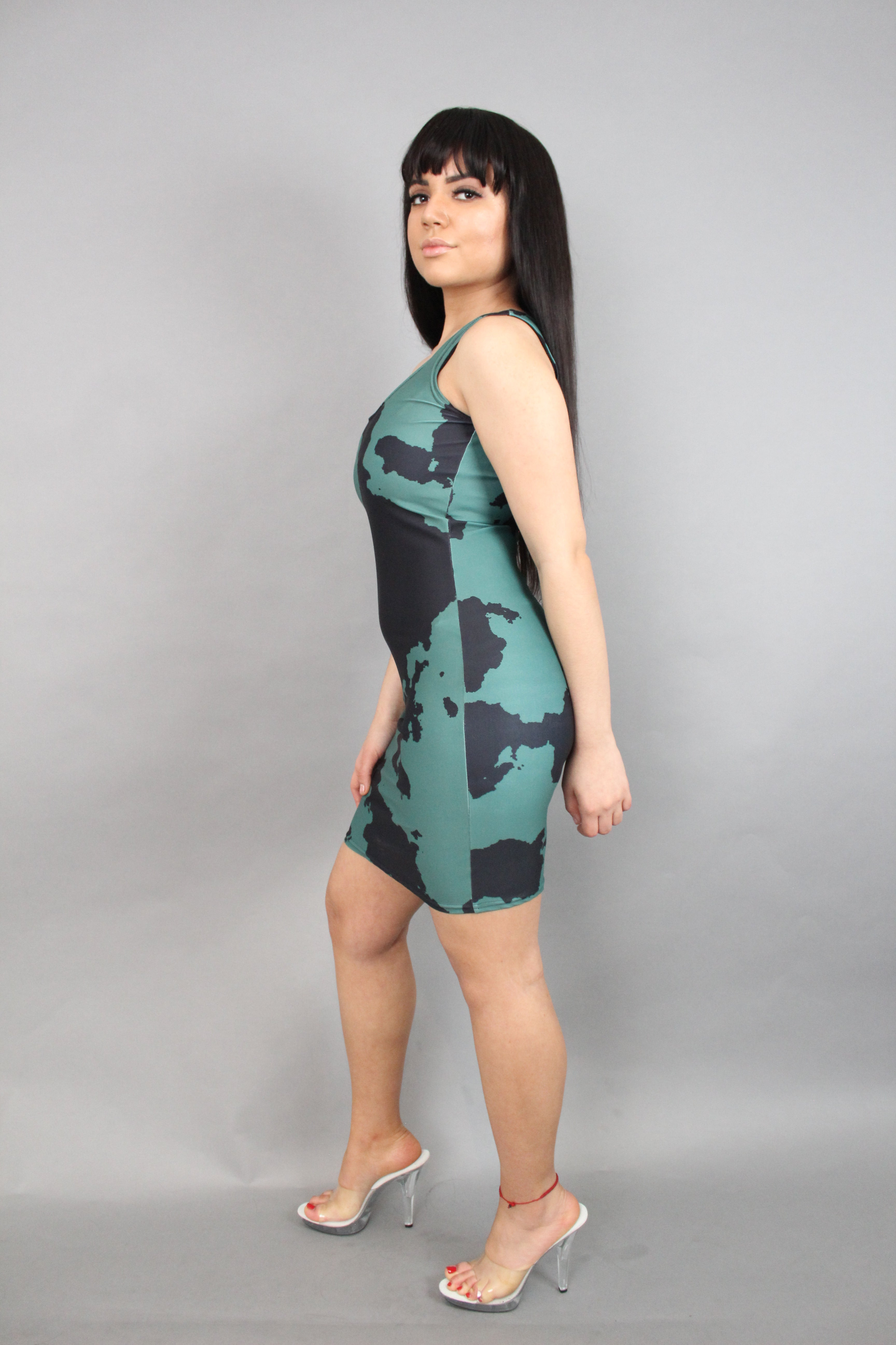 Olive Camouflage Fitted Dress
