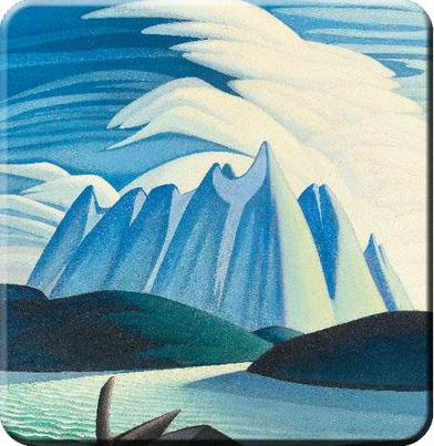 Lawren Harris Lake and Mountains Hard Coaster Set