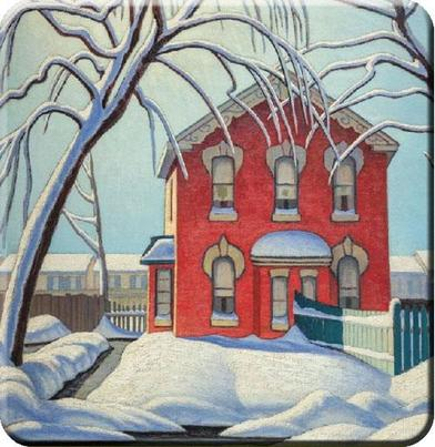 Lawren Harris Red House in Winter Hard Coaster Set