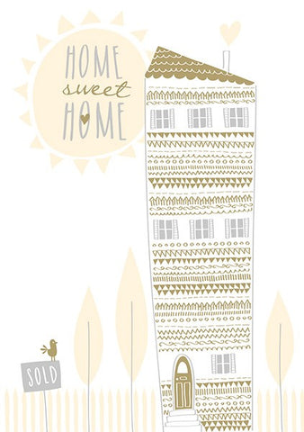 New Home Tall Foiled House Card