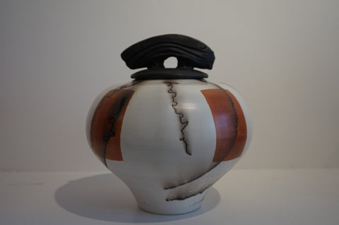 Round White and Red Raku Vase with Lid