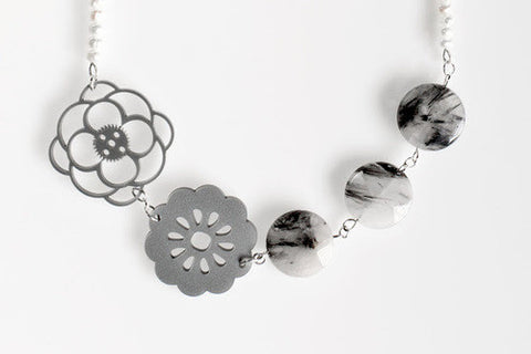 Pearl and Silver Acrylic Flower Necklace