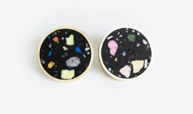 Confetti Concrete Brass Earrings