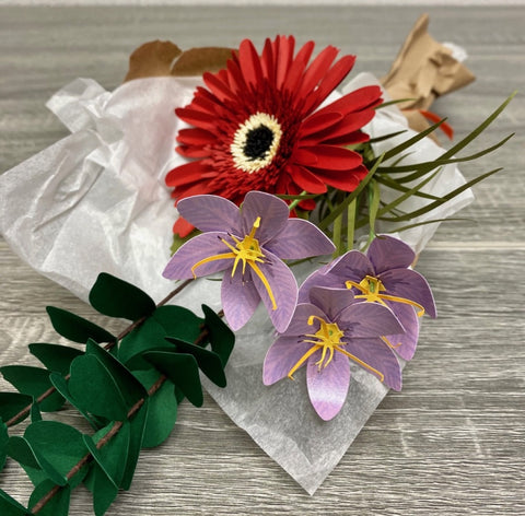 Paper Gerbera Daisy and Lily Bouquet