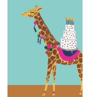 Card - Giraffe with Birthday Cake