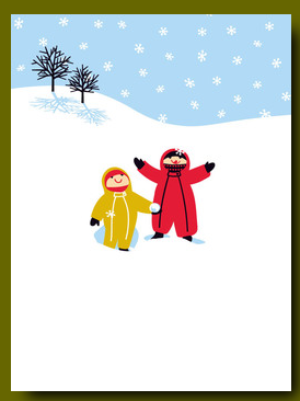 Kids in Snow Card