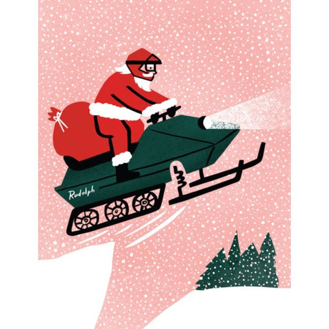 Card - Snowmobile Santa