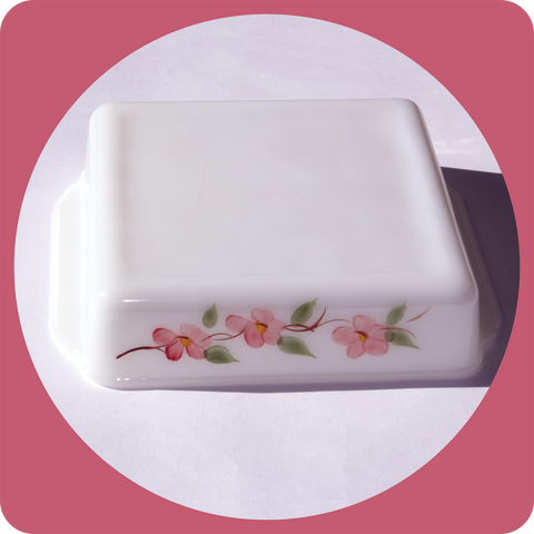 ANCHOR HOCKING Fire King Gay Fad Studios Hand Painted Peach Blossom Design Square Baking