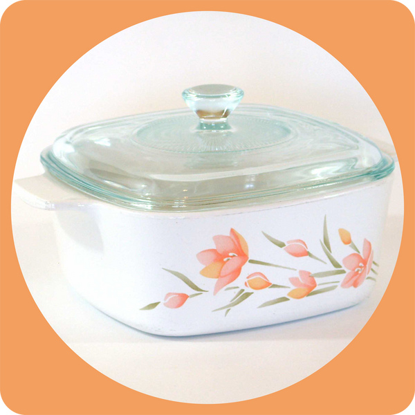 Corning Ware Peach Floral Pattern 1 5 Liter Casserole With