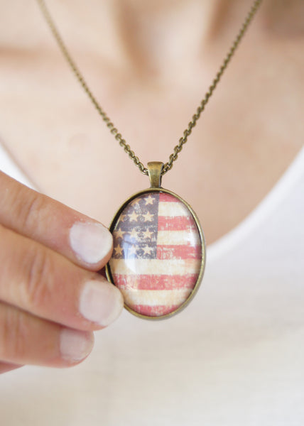 Flag Oval Pendant Necklace