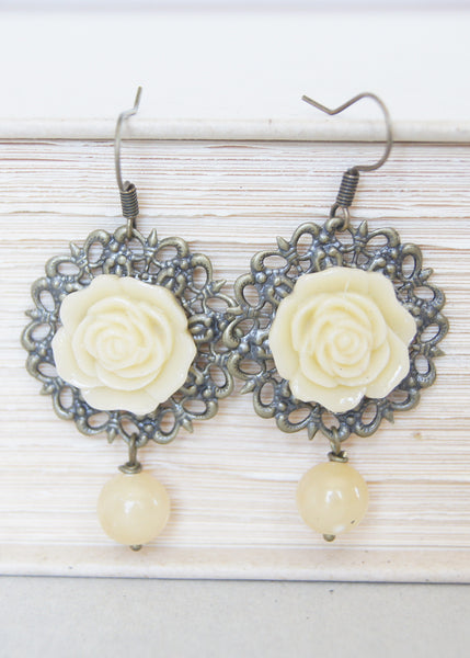 Vintage Yellow Rose Earrings