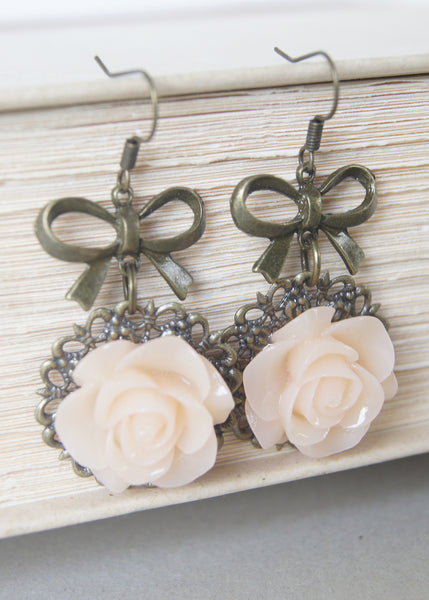 Light Peach Rose Bow Earrings