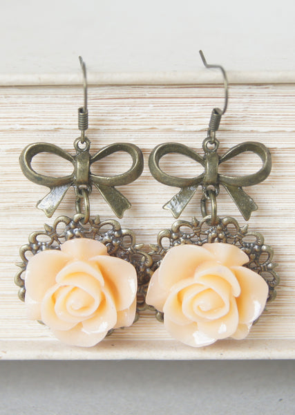 Peach Rose Bow Earrings