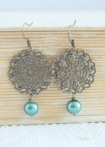 Teal Bronze Earrings