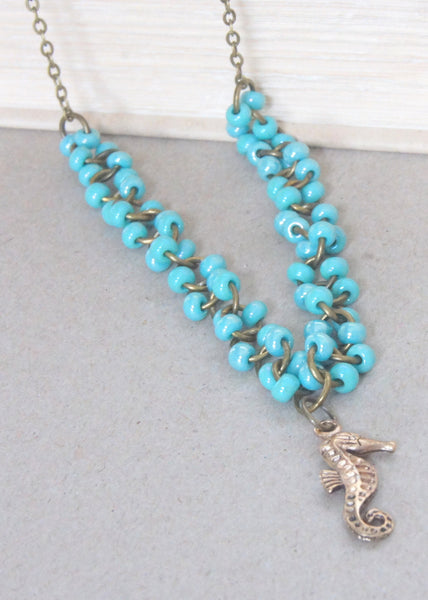 Turquoise and Bronze Seahorse Necklace