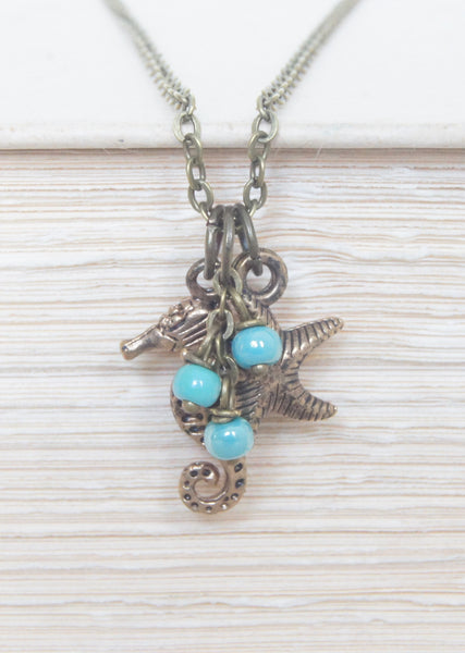 Turquoise Seahorse and Starfish Necklace