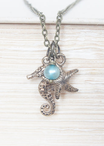 Blue Pearl Seahorse and Starfish Necklace