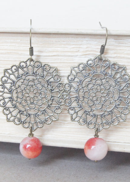 Red and White Filigree Earrings