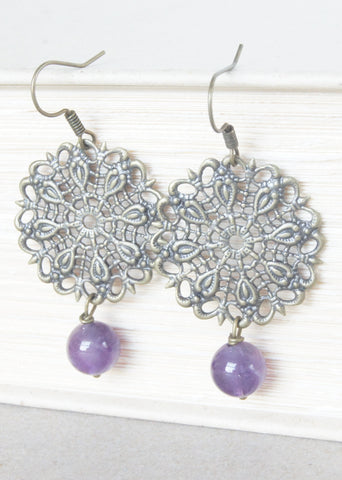 Amethyst Bronze Earrings