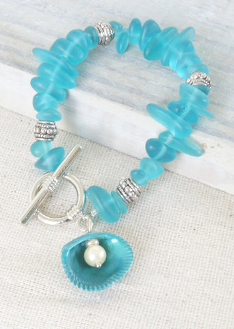 Blue Sea Glass Shell Bracelet