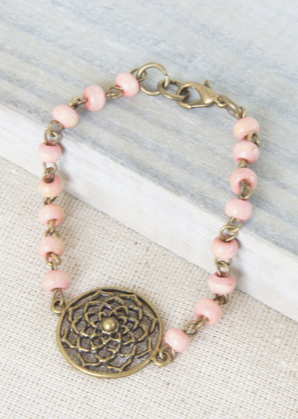 Ligh Pink Wood Flower Bronze Bracelet
