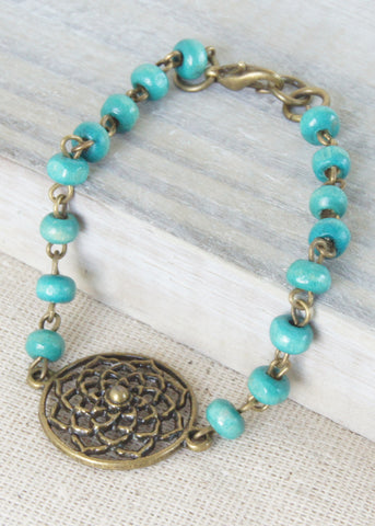 Blue Wood Flower Bronze Bracelet
