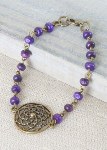Purple Wood Bronze Flower Bracelet