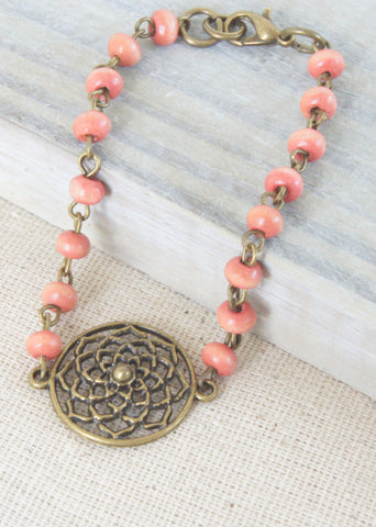 Pink Wood Flower Bronze Bracelet