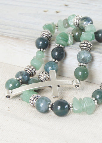 Fancy Jasper Green Silver Cross Bracelets