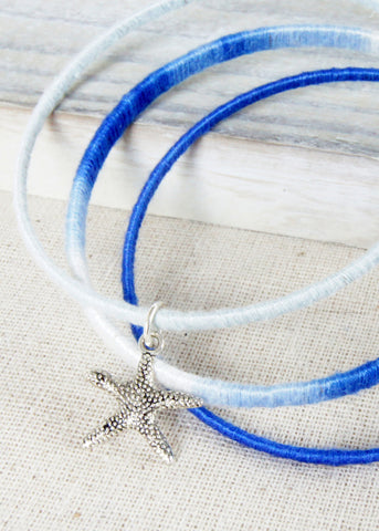 Blue Ombre Starfish Bangle Bracelets