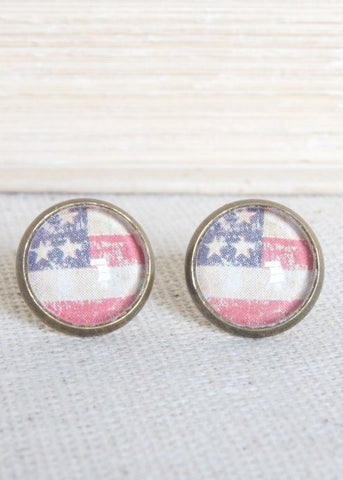 American Flag Stud Earrings