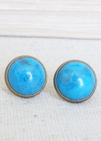 Turquoise Howlite Bronze Stud Earrings
