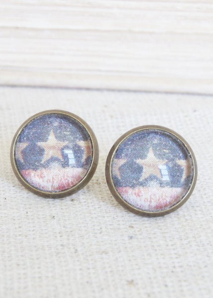 Stars & Stripes Flag Stud Earrings