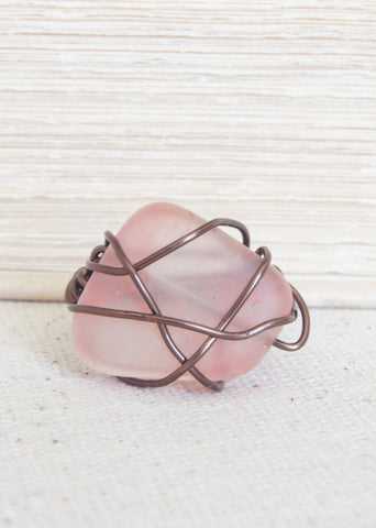 Cherry Quartz Wire Wrapped Bronze Ring