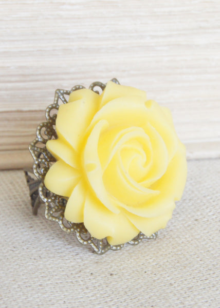 Yellow Rose Bronze Ring