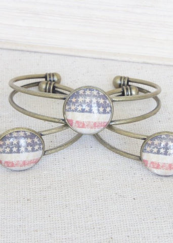Stars and Stripes Flag Bangle Bracelet