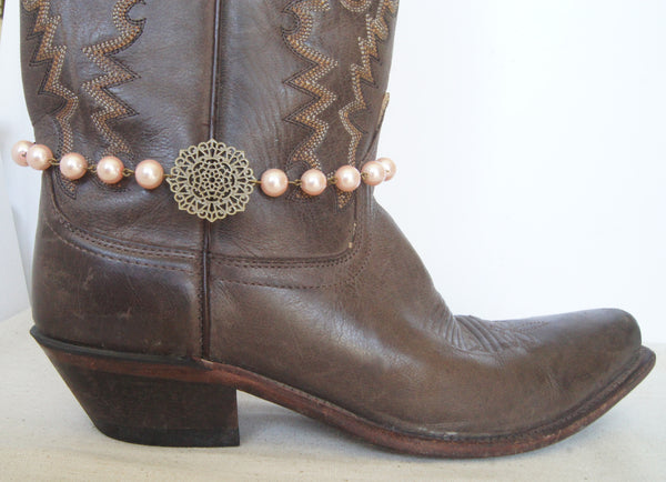Pink Bronze Boot Jewelry