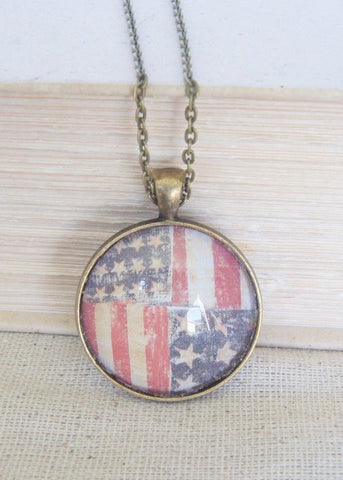 Double Flag Pendant Necklace