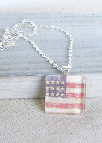 Flag Square Pendant Necklace