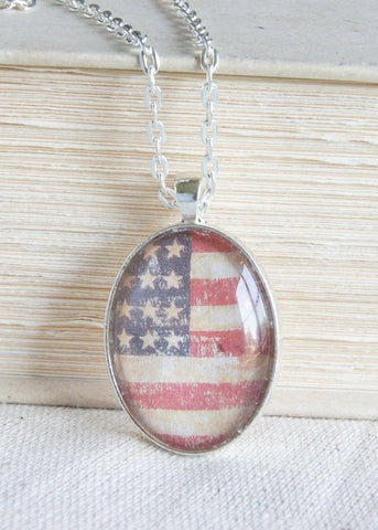 American Flag Silver Oval Pendant Necklace