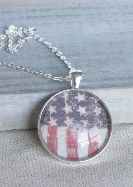 Stars and Stripes Flag Silver Pendant Necklace