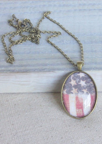 Stars and Stripes Oval Pendant Necklace