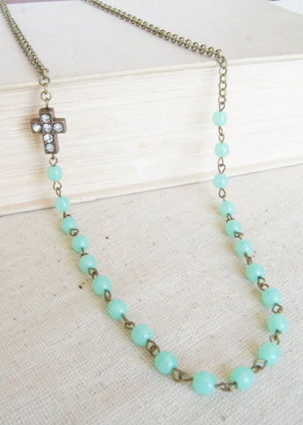 Lime Green Long Cross Necklace