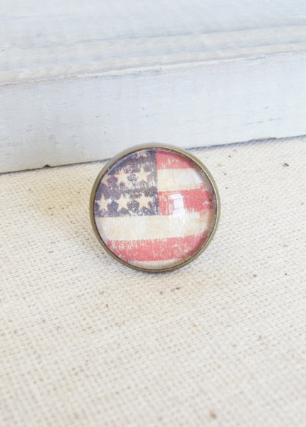 American Flag Bronze Ring