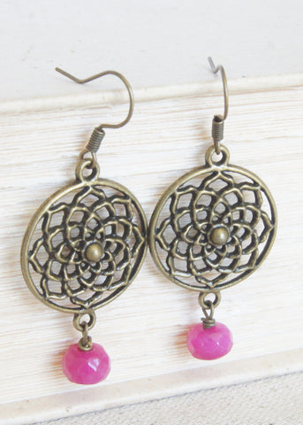 Pink Bronze Flower Earrings