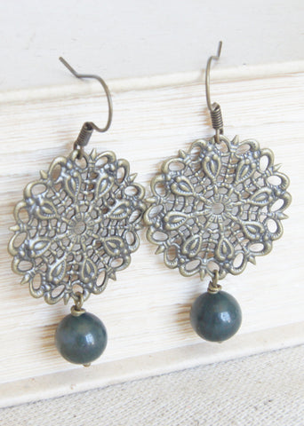 Fancy Jasper Bronze Earrings