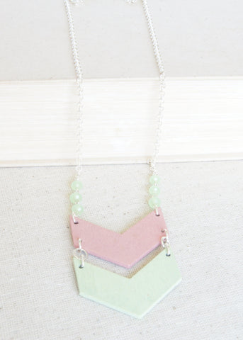 Pink and Green Chevron Necklace