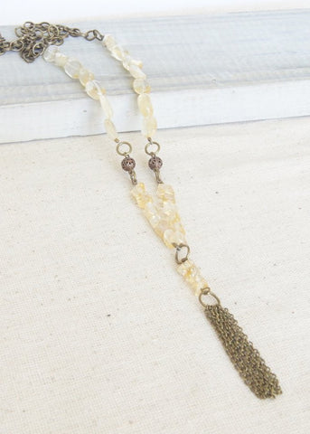 Yellow Stone Bronze Tassel Long Necklace