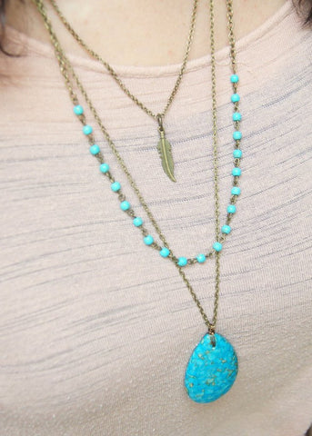 Long Turquoise Layered Necklace